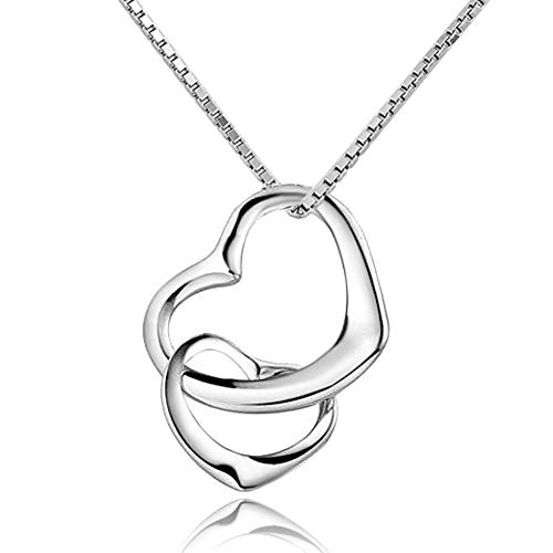 Corykeyes 925 Sterling Silver Double Heart Pendant Necklace (Double Heart3) ()