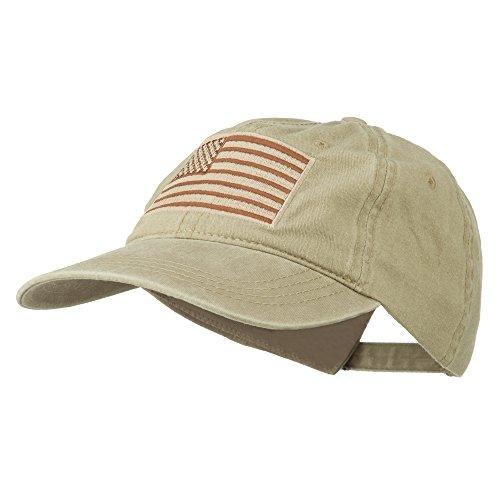 Flag Ball Cap - Tan American Flag Embroidered Washed Cap - Khaki OSFM
