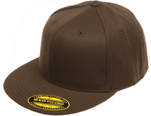 - Original Blank Flexfit Flatbill Premium Fitted 210 Hat Cap Flex Fit Flat Bill Large/Xlarge - Brown