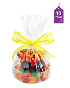 "Clear Basket Bags 12"" x 18"" Cellophane Gift Bags for Small Baskets and Gifts 1.2 Mil Thick (10 Bags)"