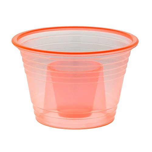 Zappy 50 Neon Orange Jager Bomb Cups Disposable Plastic Party Bomber Power Bomber Jager Bomb Cups Cool Double Shot Glass Glasses Shot Cup Cups Jager bomb glasses for mixed shots 50Ct Orange Jagerbombs by zappy (Image #1)