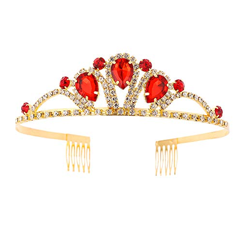 Metal Headband Wedding Crown Princess Queen Tiara Rhinestone Bridal Headpiece with Comb for Valentine's Day Mother's Day Christmas Gifts (Red)