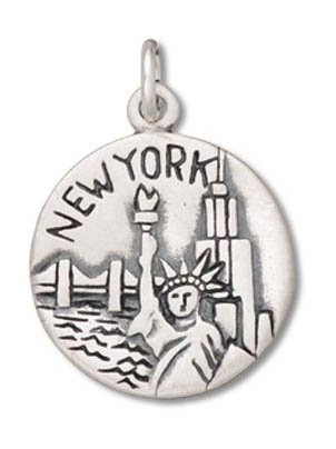 Sterling Silver Round NYC Big Apple Charm Pendant (19 x 16 mm) New York Sterling Silver Charm
