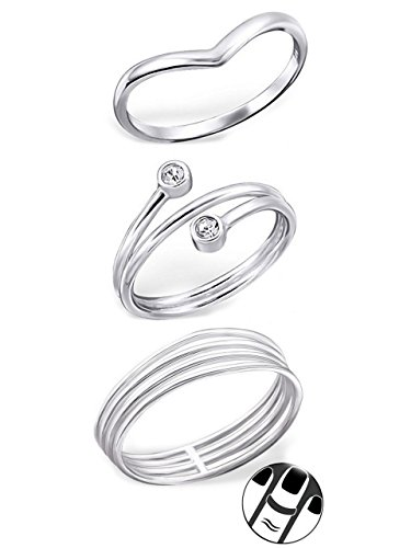 925 Sterling Silver set of 3 Pointed, Double Crystal, Four Connected Above Knuckle Ring Mid Finger Top by ICYROSE
