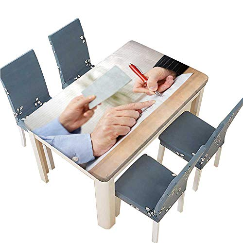 PINAFORE Tablecloth Waterproof Polyester Table Employer Shows Employee Where to Sign and Giving her Booklet at Tablecloth for Wedding/Party W65 x L104 INCH (Elastic Edge)