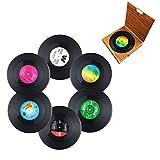 Miaoo 6PCS Retro CD Record Vinyl Coasters Drink Cup Mat