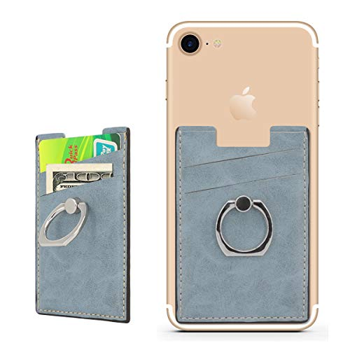 BIBERCAS Phone Card Holder with Ring Grip Stand Adhesive Stick-on Credit Card Wallet for iPhone and Android,Compatible with Magnetic Car Mount Holder-Blue