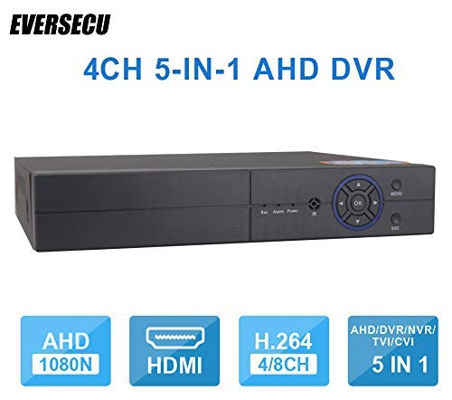 - 4CH 1080P Lite 5-in-1 HD Analog Hybrid DVR&NVR Support 1080P IP Camera+1080P AHD/TVI/CVI Camera and 960H Analog Camera Standalone DVR CCTV Surveillance Security System Video Recorder (No HDD)
