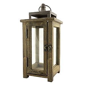 Stonebriar decorative wooden candle lantern for Wooden garden lanterns