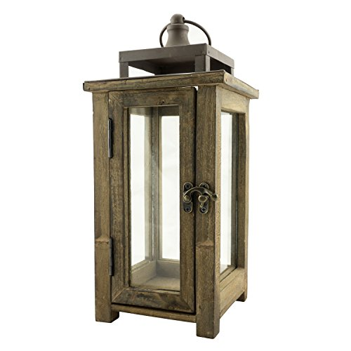 Stonebriar Decorative Wooden Candle Lantern, SMALL, Brown