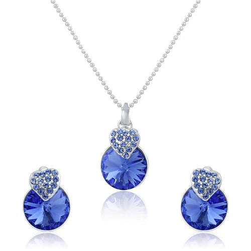 Mahi Liana Collection Blue Swarovski Elements Rhodium Plated Pendant Set For Women-NL1104089RBlu