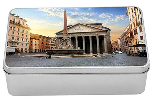 Ambesonne Obelisk Metal Box, Traveling Italy Landmarks Picture of Pantheon and Fountain in Rome at Early Morning, Multi-Purpose Rectangular Tin Box Container with Lid, 7.2