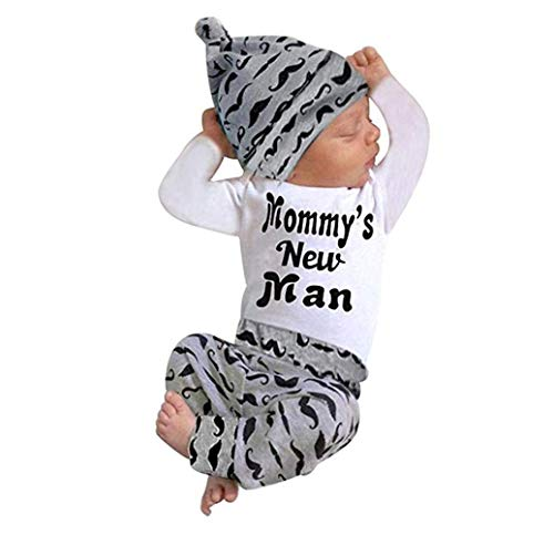(Mommy's New Man Cute Baby Outfits Tops +Long Pants Hat Clothes 3PCS (0-3 Months, Black))