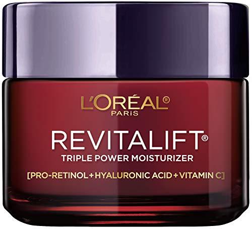 Face Moisturizer By L'Oreal Paris Skin Care I Revitalift Triple Power Anti-Aging Face Cream With Pro Retinol, Hyaluronic Acid & Vitamin C I 2.55 Oz