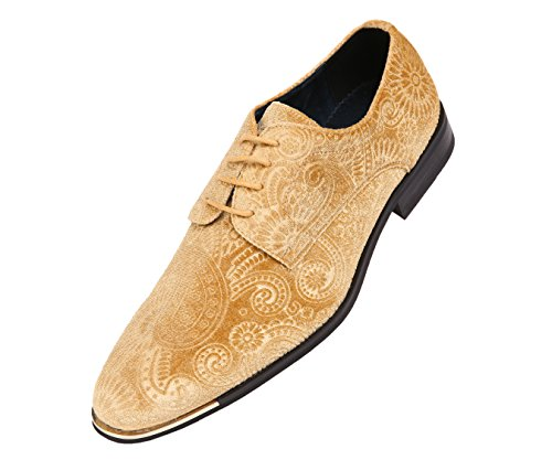 (Amali Mens Paisley Velvet Tuxedo Oxford, Formal Fashion Dress Shoe with Gold Metal Tip, Style Chadwick, Runs Small Size 1/2 a Size)
