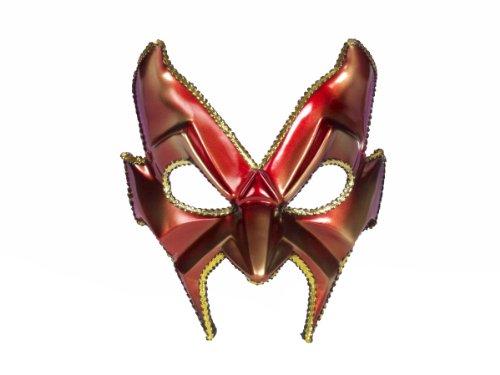 Forum Devil Man Deep-V Half Mask, Red/Gold, One Size -