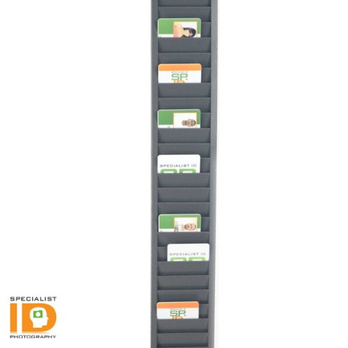 (Heavy Duty Employee Time Card ID Badge Rack for Vertical Cards - Holds 40 Employee I.D. Badges by Specialist)
