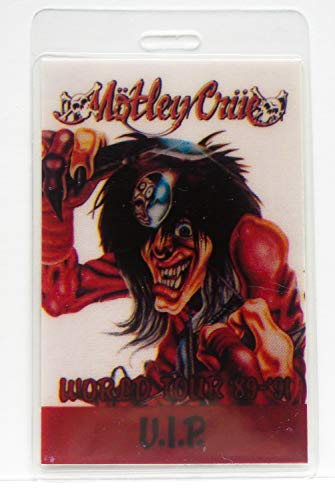 "Mötley Crüe Laminate Backstage Pass Dr. Feelgood World Tour '89-'90""VIP"""