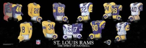 Louis Rams Uniform - Framed Evolution History St. Louis Rams Uniforms Print