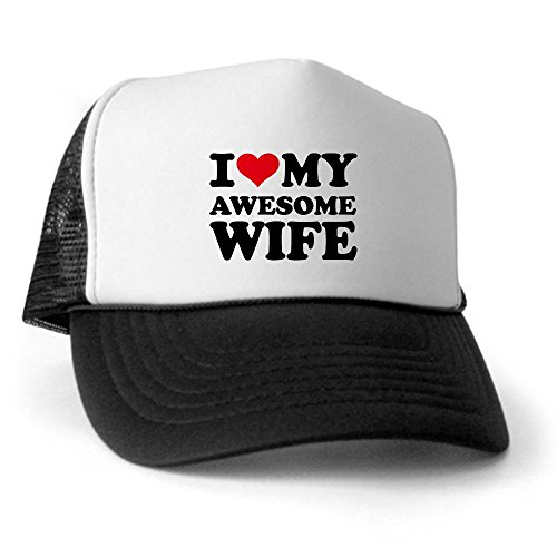 CafePress - I love my awesome wife Trucker Hat - Trucker Hat, Classic Baseball Hat, Unique Trucker Cap Black/White