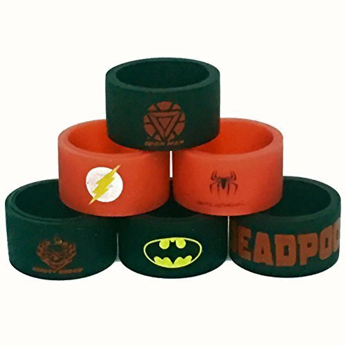 Silicone Superhero Vape Bands Tank Band (6-Pack (Iron Man, Flash, Spiderman, Ghost Rider, Batman, Deadpool))