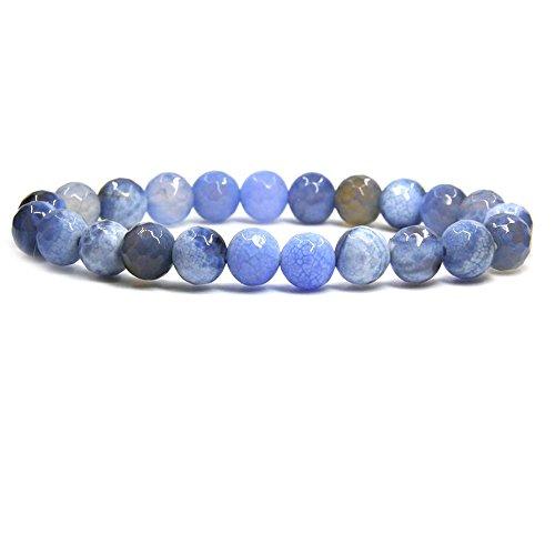 Amandastone Faceted Dyed Sky Blue Agate Gem Semi Precious Gemstone 8mm Ball Beads Stretch Bracelet 7