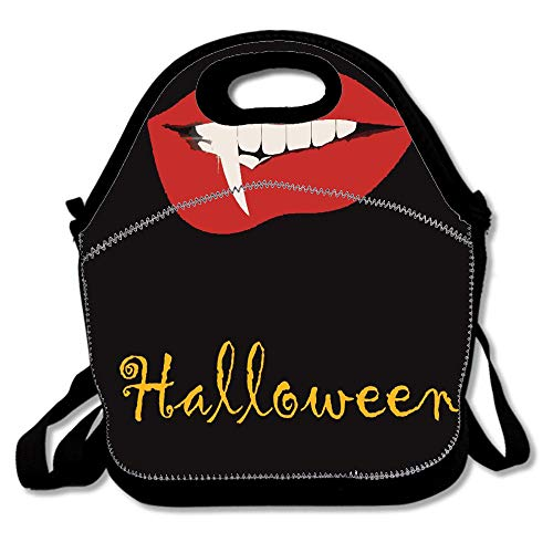 Halloween Theme Vampire Lip Horror Painting Bags For Men Women Adults Kids Toddler Nurses With Adjustable Shoulder Strap - Neoprene Lunch Tote -
