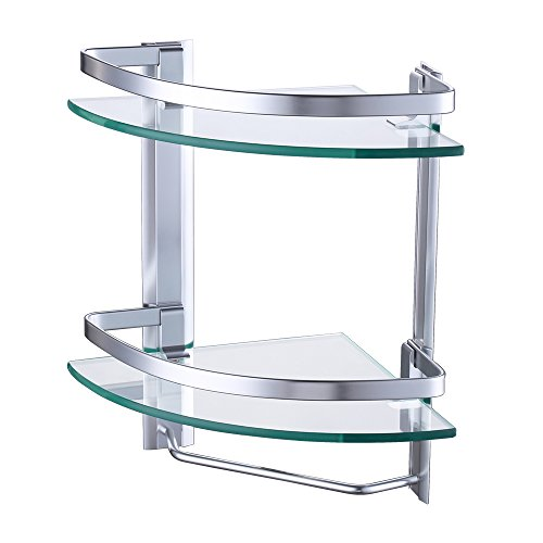 - Kes Aluminum Bathroom 2-Tier Glass Corner Shelf with Towel Bar Wall Mounted Extra Thick Tempered Glass Silver Sand Sprayed, A4123B