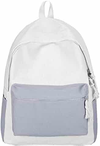 Girls Backpack School Bag Travel Sports Backpack Fashion Women s Canvas  Contrast Shoulder Bag Student Backpack 0b817e0a1f2b8