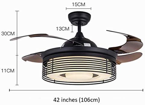Ventiladores para el techo con lámpara Retro 42 pulgadas Ventilador invisible Luces huecas Hoja de acrílico Led Ventiladores de techo Control inalámbrico Ventilador de techo luz americana Ventiladores: Amazon.es: Hogar