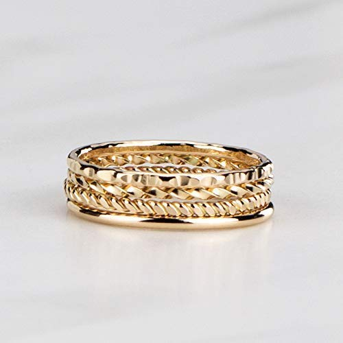 Artisan Stacking Rings, Hammered 14K Gold Filled Set of 4 Custom Made Stackable Bands