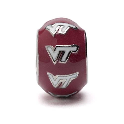 Virginia Tech Charm | VT Hokies Charm - White VT on Red Round Bead Charm | Officially Licensed Virginia Tech Jewelry | Virginia Tech Gifts | VT Hokies | Virginia Tech Charms | Stainless Steel
