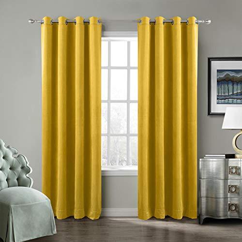 ned Premium Velvet Curtain Yellow 50Wx96L Inch (1 Panel), Eyelet Grommet for Livingroom Bedroom Theater Studio, Birkin Collection ()
