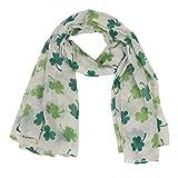 Sikye Chiffon Sheer Scarf,Fashion Soft Green Irish Four-Leaf Shamrock Shawl Wrap Scarves for Women Female (Green)