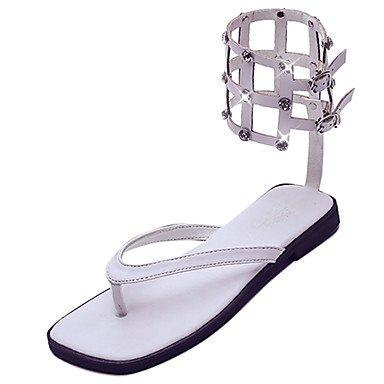 LvYuan Mujer Sandalias Confort Goma Verano Paseo Confort Tacón Plano Blanco Negro Menos de 2'5 cms Black