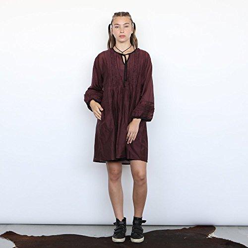 Christmas sale: Boho chic midi dress,Neck tie Ruffle dress, Burgundy + Slip by Naftul