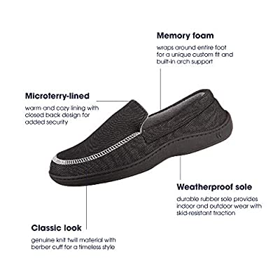 ISOTONER Chandler Men's Moccasin Slippers; Memory Foam; Indoor/Outdoor Sole; Black; MD | Shoes