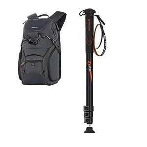 Vanguard Adaptor 46 Camera Backpack, Black VEO AM-324 4 Section Aluminum Monopod, Black