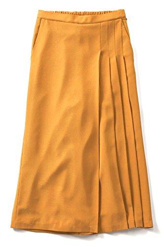魅力的行く剃るIEDIT 華やぎカラーの部分プリーツデザインスカーチョ〈サフランイエロー〉