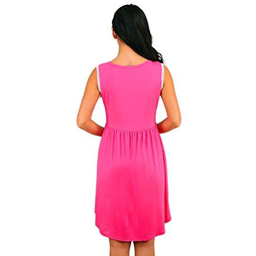 ZhiYuanAN Mujeres Casual Verano Sin Mangas Vestido De Playa Con Vestido Túnica Mini Dress Rosa