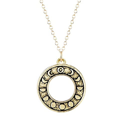 Vintage Necklace Phases of the Moon Astrology Round Pendant Necklace for Women Girls (Moon Phase Pendant)