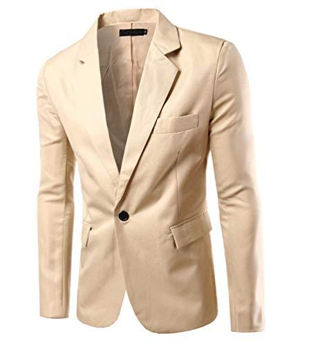 Bouton Fit Hommes 1 Avec Kahki Manteaux Loisir Chic Business Slim Fermeture Veste Costume Blazer ZZSpqwt