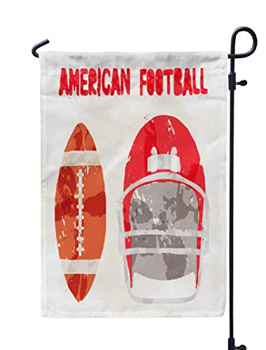 KJONG Watercolor-Abstract-Football Garden Flag,12X18 Inch Seasonal Flag Abstract American Football Watercolor Front Weatherproof Double Sided Outdoor Flags for Yard Patio House Decorations