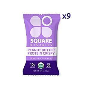 Square Organics Vegan Protein Bars - Vanilla Crunch Crispy - 10g Protein - Organic Protein Bars are Gluten Free, Dairy Free, Soy Free, Non-GMO - Perfect Protein Bar for Plant Based Diet - 9 Pack