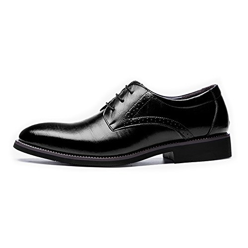 imple Men's Genuine Leather Modern Tuxedo Shoes Lace Up Business Lined Oxfords (Color : Black, Size : 9.5MUS) ()