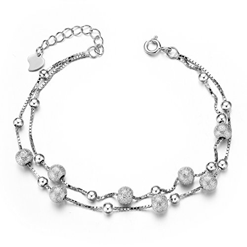 SHEGRACE Double Layered Chain Linked Bracelet Ball Charms Bracelet for Girls 925 Sterling Silver