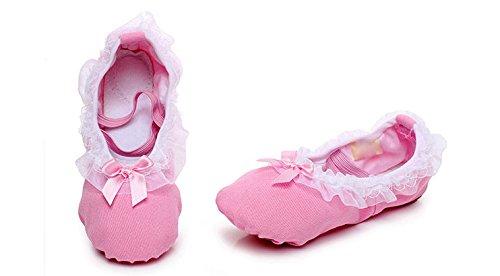 Cystyle Gute Qualität Ballettschuhe weich Ballet Trainings Schläppchen Schuhe für Mädchen Rosa