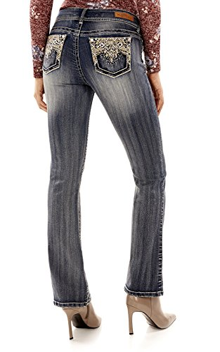 WallFlower Women's Juniors Luscious Curvy Embellished Bootcut Jeans in Davina, 9
