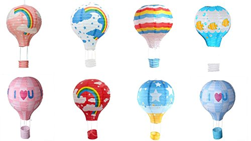 Matissa Pack of 8 Hot Air Balloon Paper Lantern Wedding Party Decoration Craft Lamp Shade (8