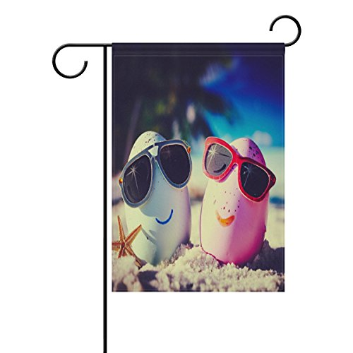 Vantaso Garden Flag Decorative Two Easter Eggs With Sunglass On Beach Polyester Double Sided Printing Fade Proof for Outdoor Courtyards Garden 12x18 - On Sunglasses Printing